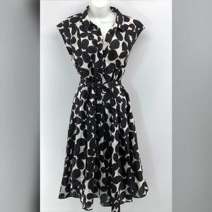 Maggy London Black & White Midi Dress SZ 14